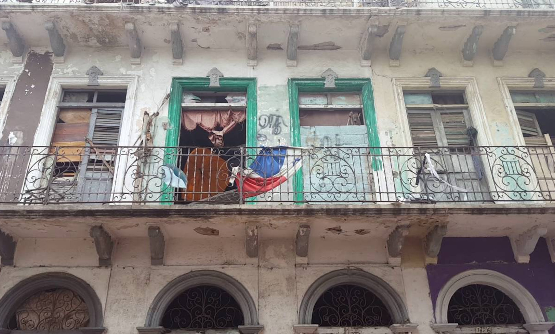 Panama Flag Waving in the Afternoon Breeze; Panama City, Panama