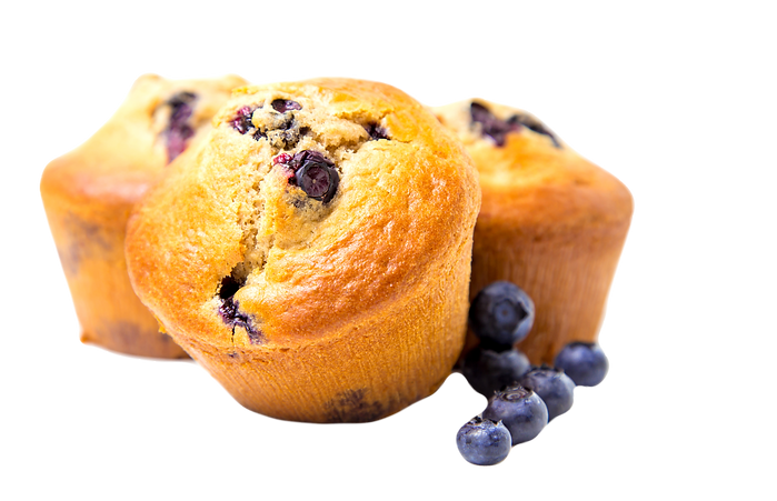 Blueberry muffins on white background_ed