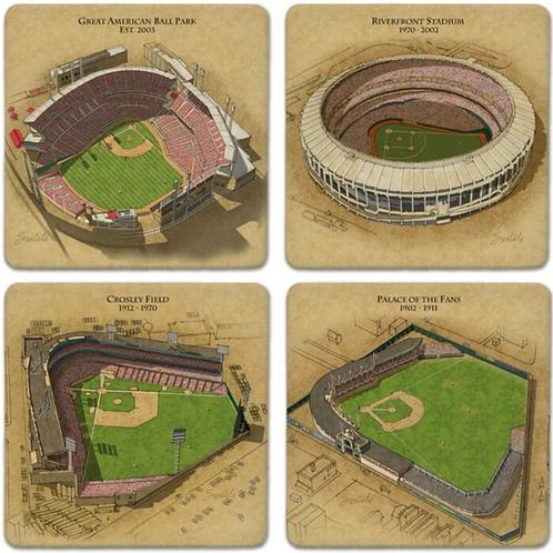 Absorbent Stone Coasters—Evolution of the Ballpark—Cincinnati