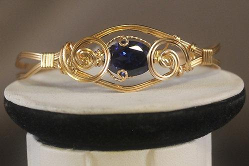Front view of Gold Blue Topaz Bracelet