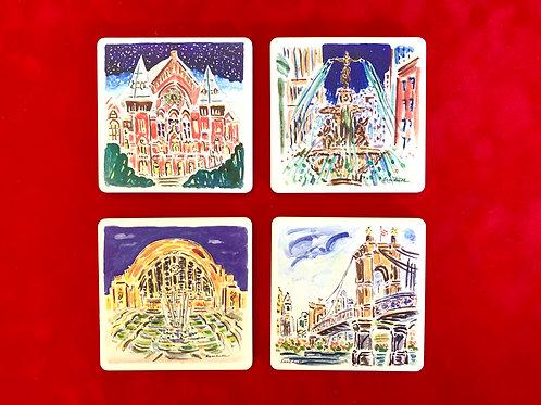 Cincinnati Scenes Stone Coasters by Beverly Erschell