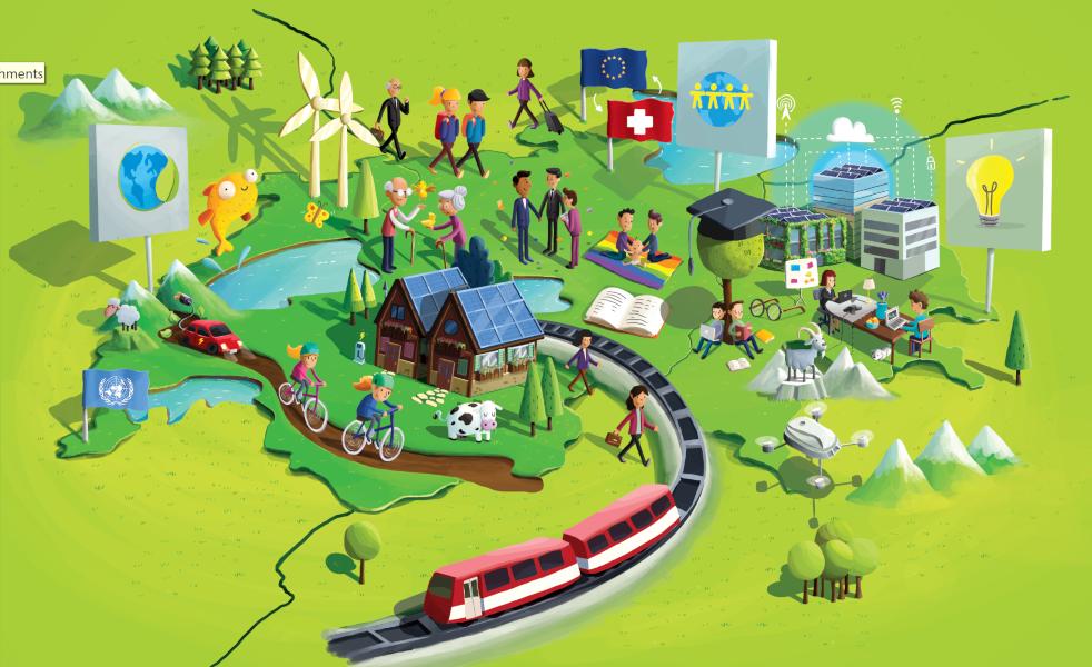 Das grünliberale Programm als Wimmelbild: Es ist Zeit für Umweltschutz und Klimaschutz, für die Einnahme der Vorreiterrolle bei sauberen Technologien, für eine offene und liberale Schweiz, für enge Beziehungen zu anderen Staaten, weltweit und mit Europa, für Vielfalt der Lebensformen, Wettbewerb und Innovation, mit Pioniergeist voranzugehen und beste Hochschulen und Unternehmen.