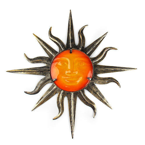 Garden Metal Sun Wall Decoration With Glass for Garden Decoration