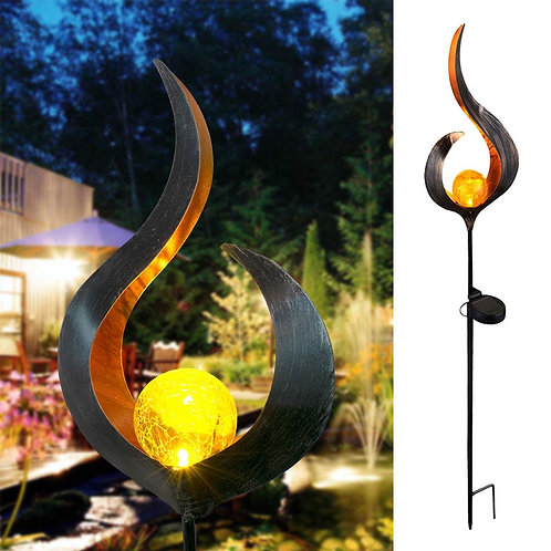 Solar LED Flame Light Retro Iron Garden Lawn Lamp