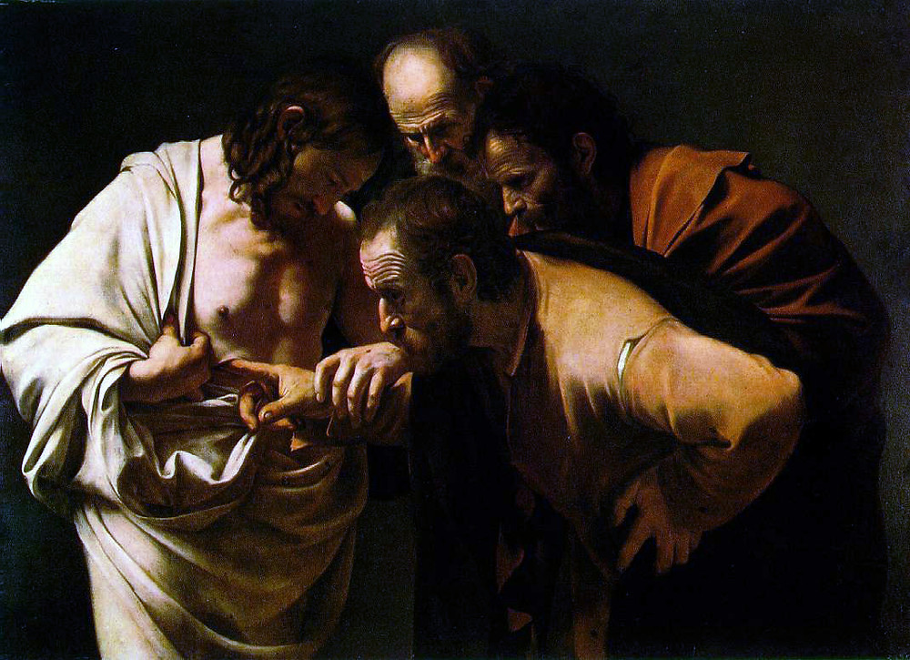 Painting: Caravaggio, the Incredulity of Thomas c. 1601–1602