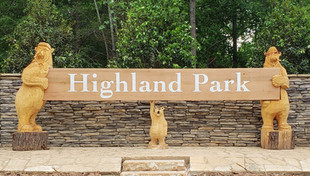 Highland Park Interior Sign with Hand Carved Bears