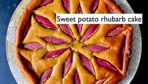 Sweet potato and rhubarb cake