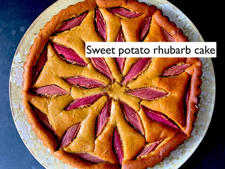Sweet potato and rhubarb cake