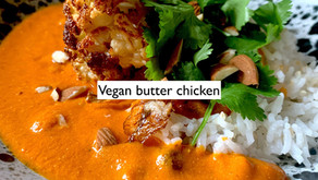 """Vegan Butter """"chicken"""" with whole roasted cauliflower"""