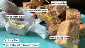 Dr. Stacy Sims' salty balls - gone vegan & square