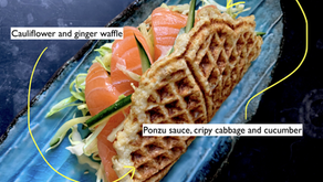 Cauliflower & ginger waffle - salmon & crispy greens