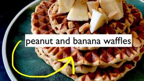 Peanut and banana waffles