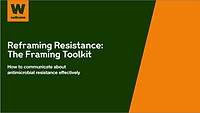 Link to and image of cover of Wellcome's Reframing Resistance Toolkit, English language version