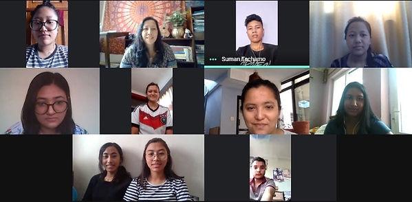 Photo of virtual meeting of YAAR! Nepal Youth Working Group
