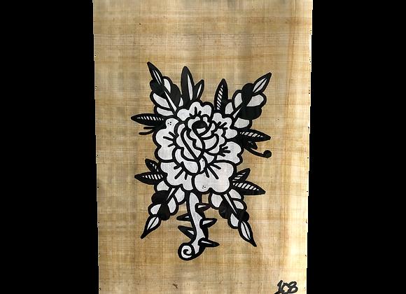 A4 Hand drawn flash - Trad Rose