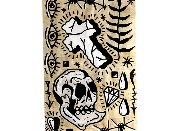 A4 Hand drawn flash - Skull and Crucifix