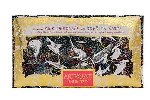 Chocolate Bar Rainbow Sharks Milk Chocolate with Popping Candy 100g