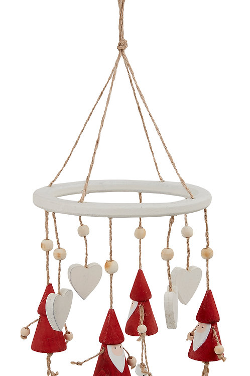 Wooden red Santa Wind Chime Christmas Decoration