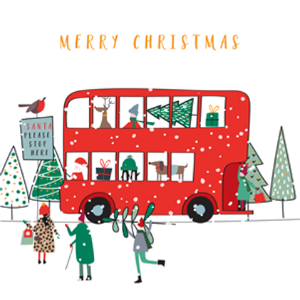 London Bus Christmas Card Pack of 5