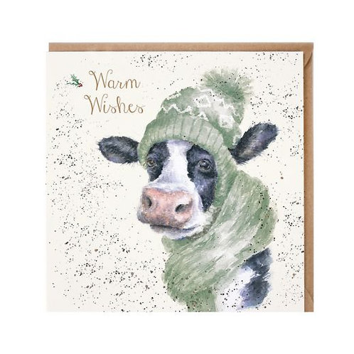 Warm Wishes Cow Christmas Card