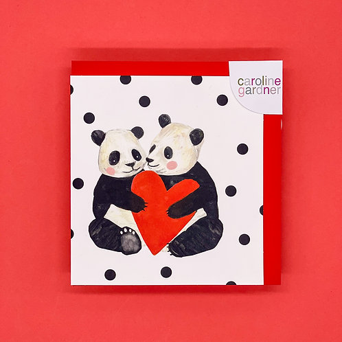 Two Pandas And Heart Valentines Card