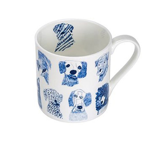 Fine Bone China Mug Blue Dogs