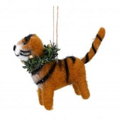 Felt Tiger With Wreath Christmas Decoration