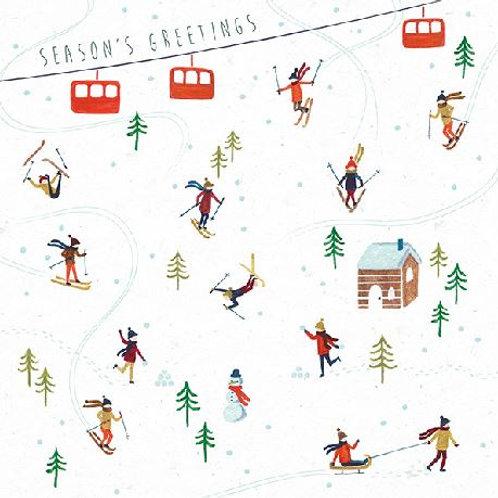 Skiers Christmas Card Pack of 6