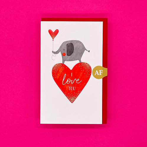 Love You Elephant Valentine Card