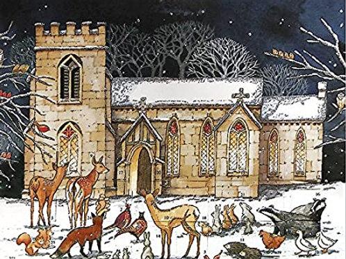 Animals Outside Snowy Church Advent Calendar