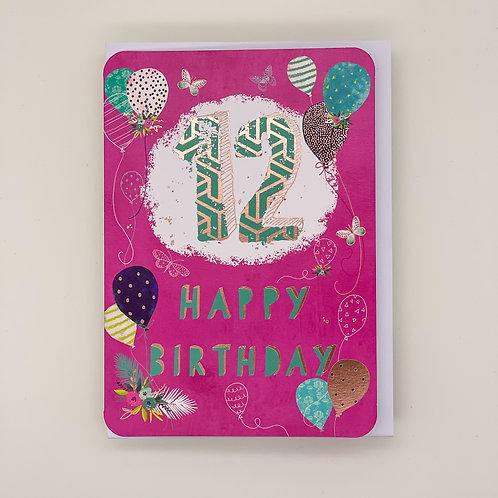 12th Birthday Balloons Card