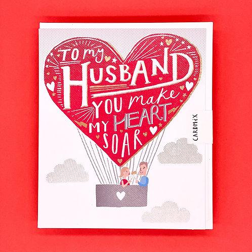 Husband Heart Balloon Valentines Card
