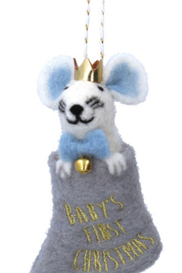 Baby's First Christmas Felt Mouse Decoration Blue