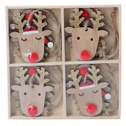 Wooden Reindeer Head Christmas Decoration Set Of 8