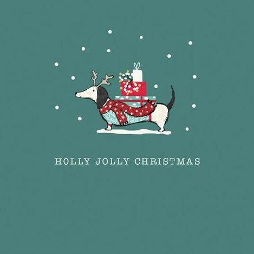Holly Jolly Dachshund Christmas Card Pack of 6