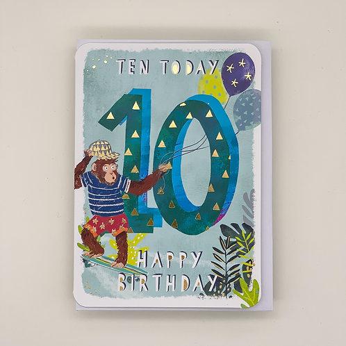 10th Birthday Monkey Card