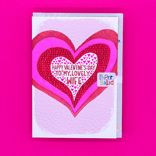 Lovely Wife Heart Valentines Card