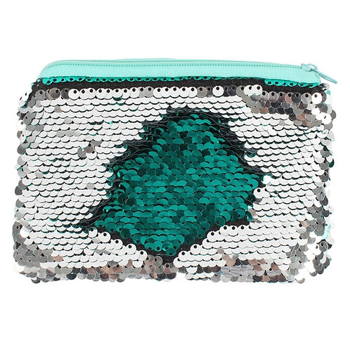 Reversible Sequin Purse Silver And Green