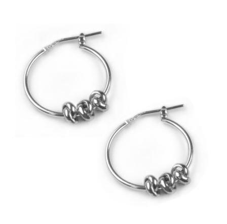 Silver Three Knot Hoop Earrings