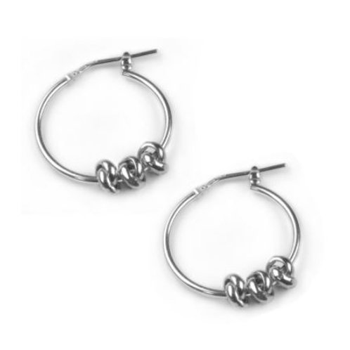 Silver Three Knot Hoop Earrings
