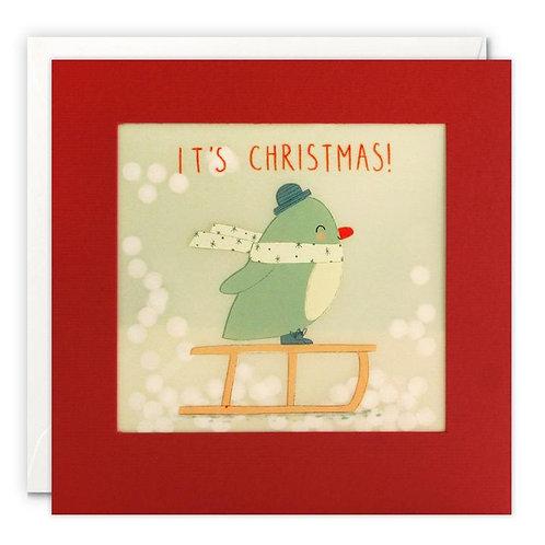 Penguin Sledging It's Christmas! Christmas Card