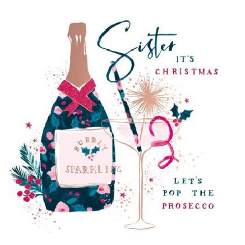 Sister Prosecco Christmas Card