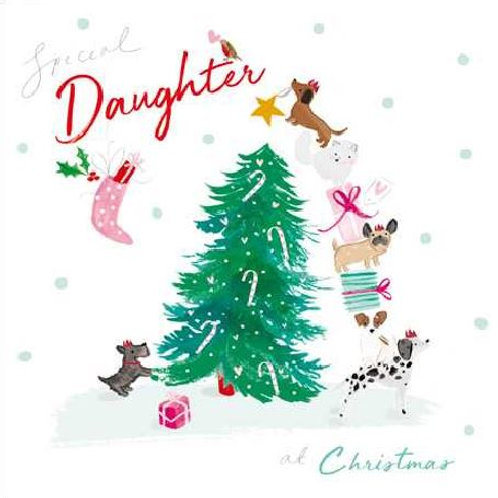Special Daughter Dogs Christmas Card