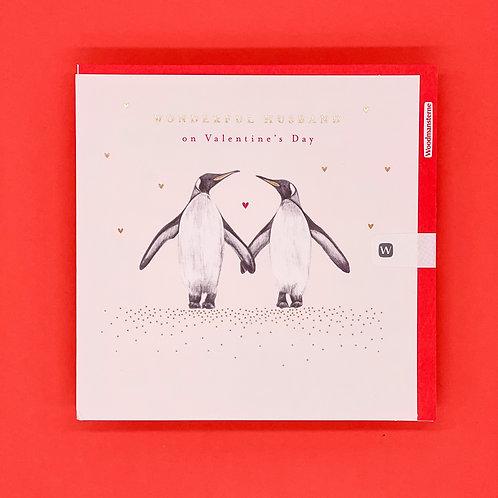 Husband Penguins Valentines Card