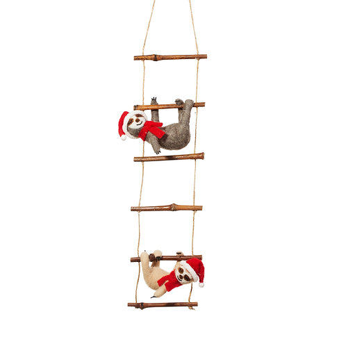 Sloths On Ladder Christmas Decoration