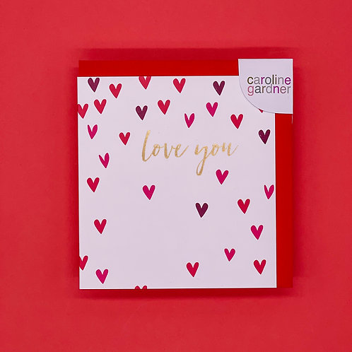 Love You Pink And Red Hearts Valentines Card