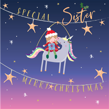 Girl with Unicorn Special Sister Christmas Card
