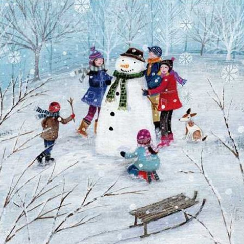 Building a Snowman Christmas Card Pack of 5