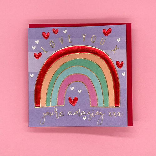 Love You Rainbow Valentines Card