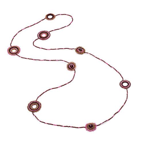 Azuni Multi Loop Raspberry Mix Necklace